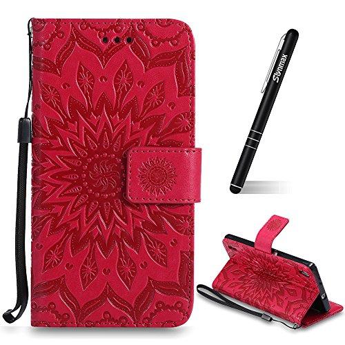 Slynmax Huawei Ascend P7 Mandala Vintage Blume Embossed Hülle Wallet Case Handyhülle Tasche Brieftasche Holste Stand Kartenfächer Magnetverschluss Lederhülle