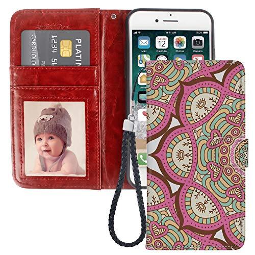Mandala Mysteriious - Funda tipo cartera compatible con iPhone 6 (2014) y iPhone 6S (2015)