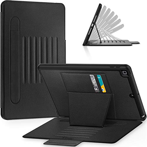 Timecity iPad 10.2 inch Case (iPad 7th Generation Case). Very Protective But Convenient Magnetic Stand + Smart Sleep/Wake + Elastic Apple Pencil Pocket + Card Holder Cover for iPad 7th Gen, Black