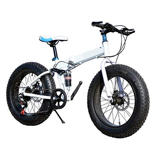 UNCTAD Bicicleta Montaña - 7 Velocidades Neumáticos rugosos Bicicleta de montaña - 20 Pulgadas Bicicleta de montaña Bicicleta de suspensión Completa - para niña, niño, Hombre y mujerwhite