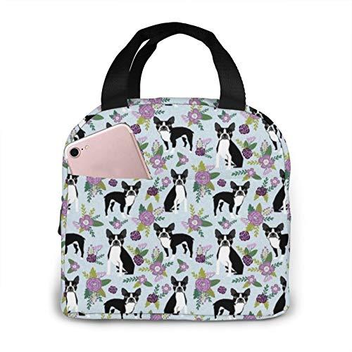 Boston Terrier Floral C Dog Floral, Florales, Bolsa de picnic azul aislada para hombres, mujeres, bolsa de mano adecuada para el trabajo, la escuela