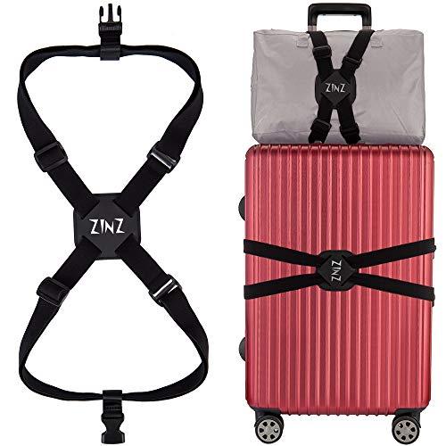 ZINZ Correas para Equipaje Altamente Elástica, Cinturones de la Maleta, Accesorios de Viaje con Hebillas, Ultra Larga, Negro