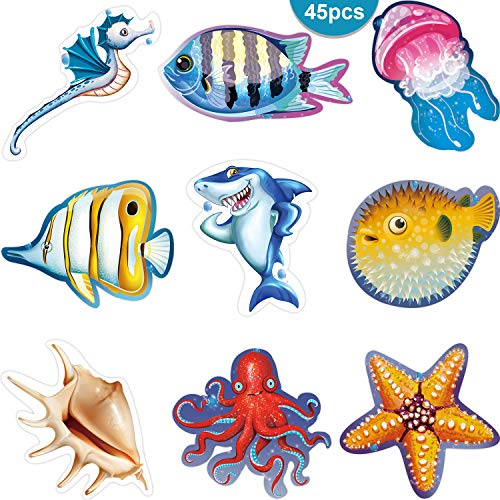 45 Pieces Colorful Under The Sea Cut-Outs Versatile Classroom Decoration Ocean Sea Animal Cutouts with Glue Point Dots for Bulletin Board School Luau or Under The Sea Themed Party, 5.9 x 5.9 Inch