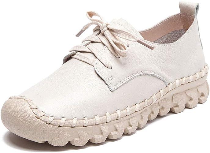 YAN Chaussures Décontracté Femmes Nouveau 2019 Cuir Ronde tête de mère Chaussures Confortables Chaussures de maternité Bas Doux Noir Blanc gris,blanc,39
