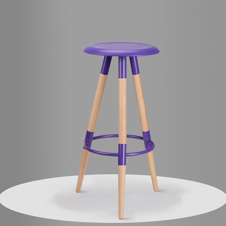 CJH Solid Wood Bar Chair Bar Stool Bar Stool High Stool Simple Fashion Chair Bar Chair Purple
