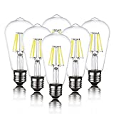 6-Pack Edison LED Light Bulb for Ceiling Fan, ST58 E26 E27 60 Watt Equivalent, Daylight White 6000K, Antique Vintage Style,Squirrel Cage Filament Clear Glass, Non Dimmable Energy Saving Bulb
