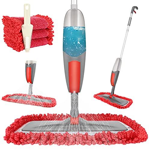 Tencoz Spray Mop, Lavapavimenti a Spruzzo Mop Microfibra Pavimenti Professionale 360° Rotazione con 2 Panni in Microfibra e Spazzolone per Legno Duro, Marmo, Laminato, Piastrelle