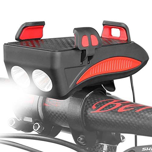 4-in-1 Fahrrad-Scheinwerfer, Fahrradhupe, Handyhalterung, USB wiederaufladbare Powerbank, wasserdicht, verstellbar, stoßdämpfend, mit LED-Licht und Hupe, für 10,2 cm bis 6,6 Zoll Telefon