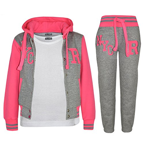 A2Z 4 Kids® Kinder Mädchen Jungen Baseball Trainingsanzug Jacke & Hose - T.S Baseball NYC Grey Neon Pink 7-8.1