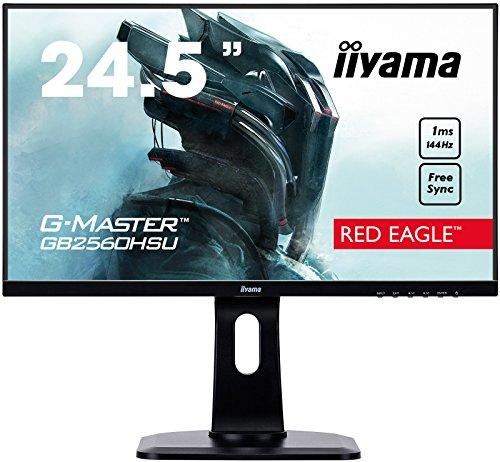 "iiyama G-MASTER Red Eagle GB2560HSU-B1 62,2 cm (24,5"") Gaming Monitor Full-HD (HDMI, DisplayPort, USB 2.0) 1ms Reaktionszeit, 144Hz, FreeSync, Höhenverstellung, Pivot, schwarz"