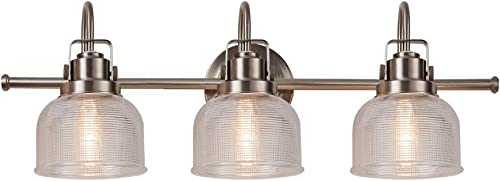 LHLYCLX Brushed Nickel Vanity Light, 3 Light Wall Lamp with Glass Shade, Modern Wall Lighting for Mirror, Living Room, Bedroom, Hallway (Brushed Nickel, 3 Light)