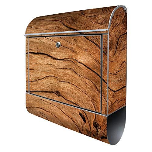 Banjado Design Briefkasten mit Motiv Trockenes Holz   Stahl pulverbeschichtet mit Zeitungsrolle   Größe 38x47x14cm, 2 Schlüssel, A4 Einwurf, inkl. Montagematerial