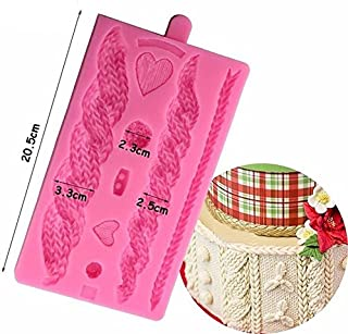 Joinor 3D Knitting Texture Silicone Mold Christmas Cake Border Fondant Molds Cake Decorating Tools Chocolate Gumpaste Moulds