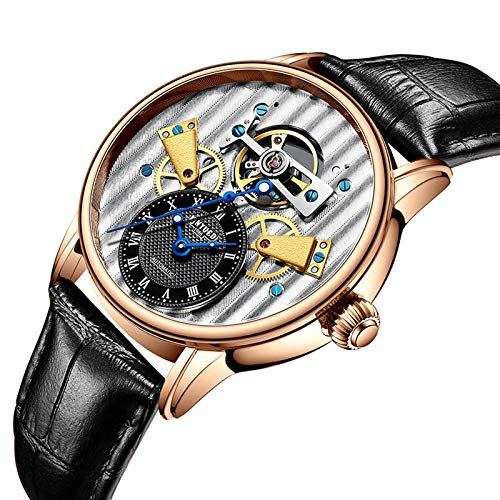 JTTM Hombre Automático De Pulsera Mecánico Relojes Multifunción Puntero Luminoso Impermeable Cronógrafo Moda Cuero Reloj De Negocios,Rose Black