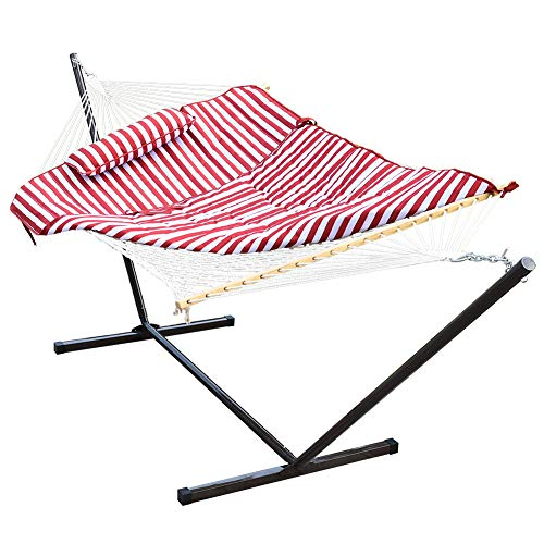 Lazy Daze Hammocks 12 Feet Space Saving Steel Hammock Stand with Cotton Rope Hammock Combo, Includes...