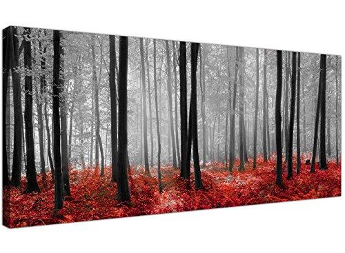 Wallfillers, stampa su tela, alberi della foresta, design moderno, colori: nero, bianco e rosso