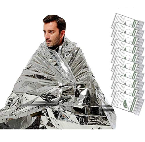 [10 Pack] Emergency Blankets, UEBGOOD Emergency Mylar Thermal Blankets for Homeless & Pets, Space Blanket for Outdoor, Camping, Hiking, Survival, Marathons, First Aid