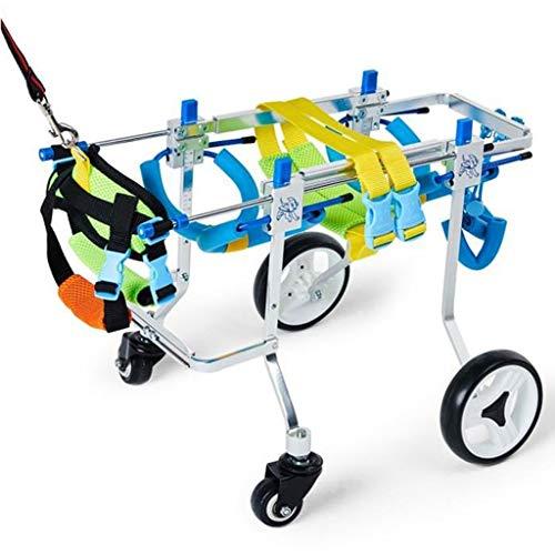 Silla de ruedas para perros ajustable Ajustable Perro Andador Silla De Ruedas For Mascotas 4 Ruedas Piernas Traseras Movilidad Arnés De Rehabilitación For Discapacitados Perro Cesta ( Size : S