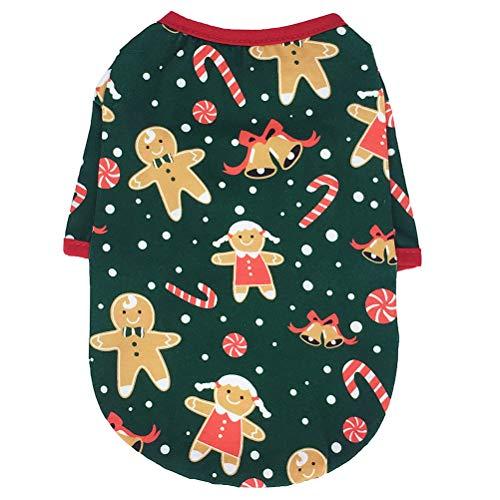 Baluue Disfraz de Perro Gingerbread Man Pattern Pet Coat Ropa de Navidad para Perros Adorable Pet Party Outfit