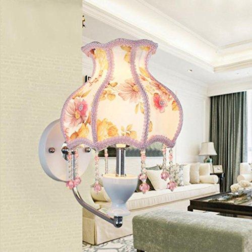 G Led-nachtkast-wandlamp, trek-lijn schakelaar/stop-schakelaar, doek lampenkap, veelkleurig naar keuze, voor slaapkamer of woonkamer