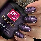 Pink Gellac Esmalte de uñas Shellac de 15 ml para lámpara UV LED | 248 Midnight Purple Purple Purple Purpurpura Glitter | Gel Nail Polish para UV Nail Lamp | LED Nail Polish Gel Gel de uñas