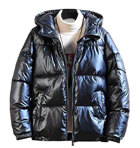 chouyatou Men's Casual Hooded Full Zip Metallic Shiny Short Bomber Alternative Down Coat (Large, Blue)