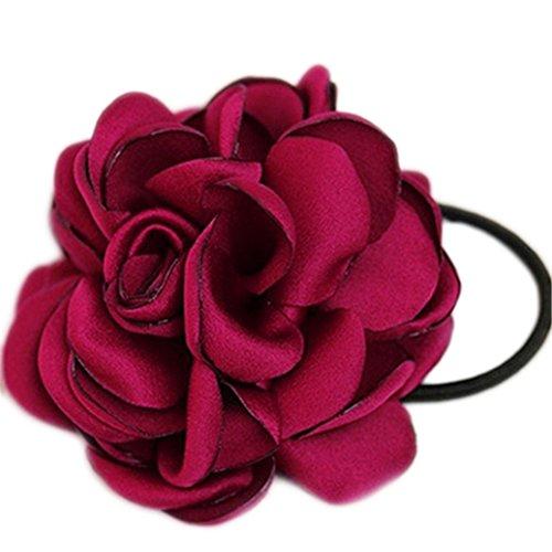 display08Haargummi mit Blume Kamelie, Pferdeschwanz-Halter, Haarband, Haar-Accessoire