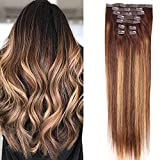 T4/27P4 Ombre Hair Extensions Clip in Human Hair 20 inch Ash 613 Highlighted Bleach Blonde 120g 9Pcs Short Thick End Clip in Hair Extensions Human Hair (T4/27P4, 20)