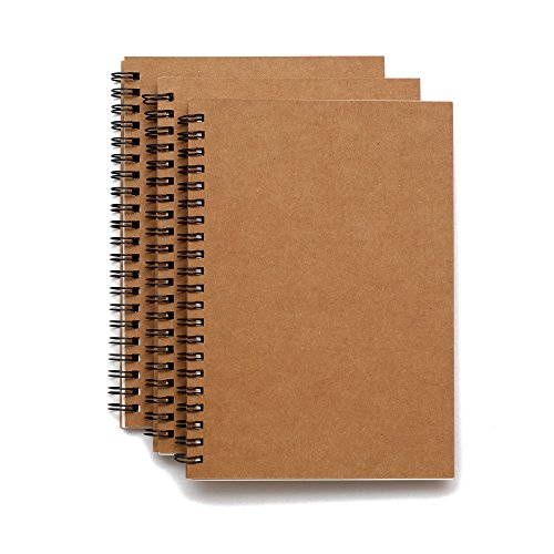 Soft Cover Spiral Sketchpad Notebooks - Pack of Three - 8.25 inches by 5.5 inches - 100 Pages, 50 Sheets - Perfect for Travel