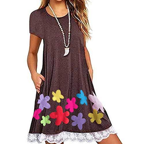 Wtouhe-Vestido mujer, nuevo en 2019 Vestido de moda de verano Vestido de encaje o bolsillo con estampado casual en el bolsillo O Vestido de noche de manga cortaE Vestido elegante suelto