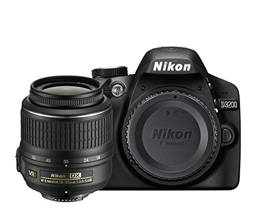 Nikon D3200 - Cámara réflex digital de 24 Mp (pantalla 2.9', estabilizador, vídeo Full HD), color negro - kit con objetivo AF-S DX 18-55mm f/5.6 VR II [importado]