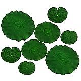 BAOYU 4 piezas artificiales de loto flotante de hoja de loto artificial para jardín, estanque de acuario, pecera, para decoración del hogar, jardín, hojas de lirio de loto verde (verde)