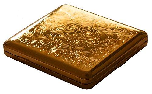 GERMANUS Zigarettenetui, Made in Germany, Mit echtem Gold vergoldet, Motiv V