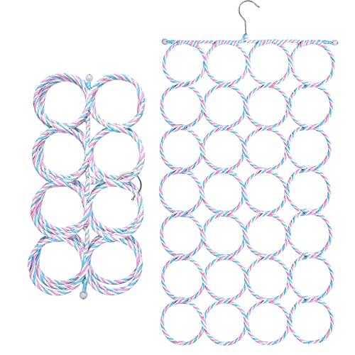 Pinsheng Percha la Bufanda, Percha Porta Bufandas con 28 Agujeros, Plegable Organizador de Armario para Colgante Bufandas Corbatas Calcetines Cinturón Toallas, Color Aleatorio