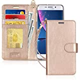 FYY Luxury PU Leather Wallet Case for Samsung GalaxyS6 Edge Plus, [Kickstand Feature] Flip Phone Case Protective Cover with [Card Holder] [Wrist Strap] for Samsung Galaxy S6 Edge Plus 2015 Gold