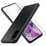 Jonwelsy Funda para Samsung Galaxy S20 Plus, Lujo Suave Silicona Liquida Shockproof Proteccion Carcasa de Telefono + Mate Vidrio Templado Contraportada Case Cubierta para Samsung S20+ (Negro)
