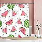 Nyngei Wassermelone Duschvorhang für Bad Sommer Zeit Cartoon Obst Wassermelone Scheiben Polyester Stoff Wasserdicht Bad Vorhang 180X180 cm Haken