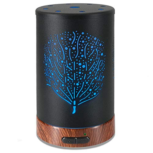 Ultrasonic Cool Mist Aromatherapy Diffuser Atomiser 100ml Metal Aroma Essential Oil Humidifier with Waterless Auto Shut-Off Protection 7 Colors Changed LED for Home Office (Tree Leaf)