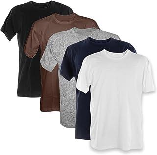 Kit 5 Camisetas Masculinas Básicas 100% Algodão Penteado