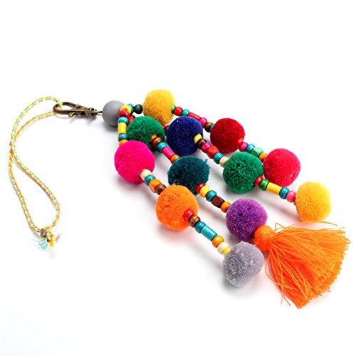 QTMY Colorful Pom Pom Beads Tassel Bag Charm Pendant Keyring Keychain for Women Purse Handbag Decor (1)