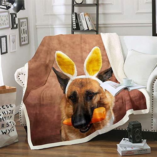 Manta de sherpa para perro 3D de pastor alemán, manta de forro polar para niños y niñas, Safari Wild Animal Felpa, lindo diseño de lobo para sofá cama, bebé 30 x 40 pulgadas