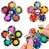 Ysoazgle Pop Fidget Spinner Toys Confezione da 4, Tie-Dye Popper Bubble Spinner Fidget Pack Toys, ADHD Antistress Semplice Giocattolo Fidget Sensoriale Regalo per Bambini Ragazzi e Ragazze (4 Pezzi)