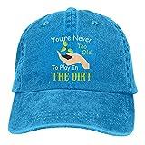 Gorra de béisbol de algodón ajustable lavable para papá, con texto en inglés «You are Never Too Old to Play in The Dirt Gardening