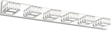 Aipsun 41 Inches Crystal Vanity Lights Over Mirror Long Bathroom Vanity Light Fixtures Modern 6 Lights LED Vanity Lights for