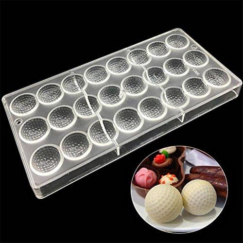 ECOSWAY Schokoladenform mit 24 Löchern, Golf-Form, 3D-Polycarbonat, transparent, für Gelee, Süßigkeiten, Schokolade, Backzubehör
