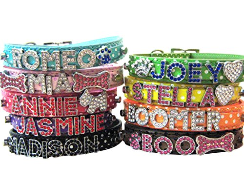 """Bling Stuff For Fun TM - Polka Dot PU Leather Personalized Rhinestone Bling Dog Name Collar for Large, Medium, Small Dogs and Puppies (Light Green, XL: Neck Size 15.3""""-19.7"""")"""