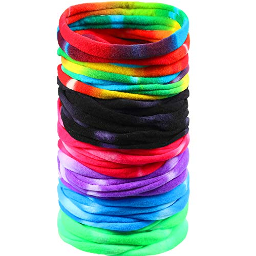 48 Pieces Large and Soft Tie-Dye Headband High Stretchy Nylon Headband Elastic Seamless Hair Tie for Women Toddler Cute Girls DIY Crafts