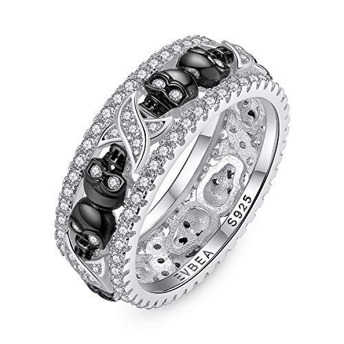 EVBEA Anillos Mujer Plata de Ley 925 Calavera Cristal Diamante Negra Compromiso Boda Bisuteria Joyería Regalos Originales para Mujer Novia Amigas