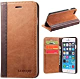LENSUN Funda iPhone 6 / 6S, Funda de Cuero Genuino Carcasa con Tapa y Cartera Tarjetas Soporte Plegable Protección Libro para Apple iPhone 6 / 6S 4,7' - Marrón (6G-FG-BN)