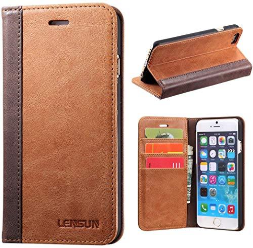 Lensun Cover iPhone 6 / 6S, Vera Pelle Cuoio Custodia Genuino Annata a Portafoglio con Coperchio Apribile per iPhone 6 / 6S 4.7' - Marrone (6G-FG-BN)